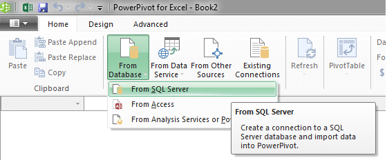 Click From Database and select From SQL Server
