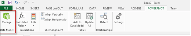 Open Excel, click the PowerPivot tab and the Manage icon