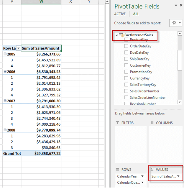 Add SalesAmount to the Values section of the worksheet
