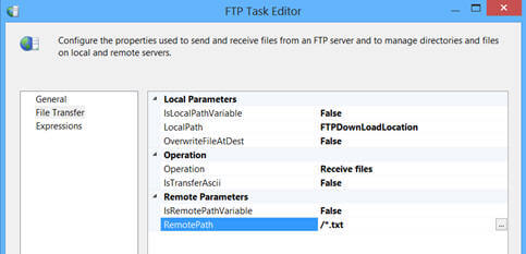 SQL Server Integration Services SSIS FTP Task for Data Exchange
