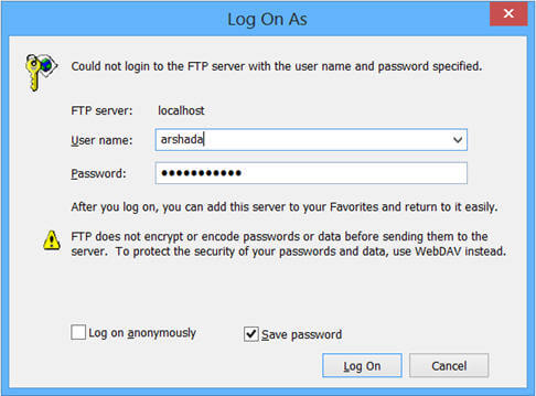 specify the FTP Server name with FTP protocol
