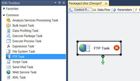 drag the FTP task from the SSIS Toolbox to the control panel
