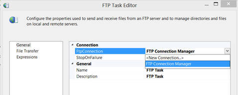 Double click on the FTP task to change its properties in the Editor