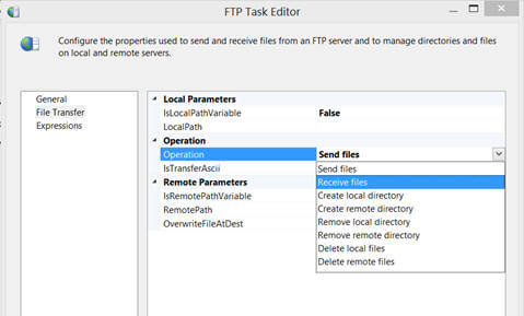 the FTP Transfer page of FTP Task Editor