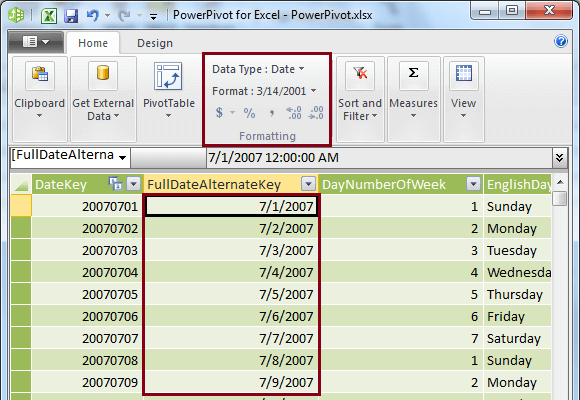 FullDateAlternateKey column with Date data without Time part
