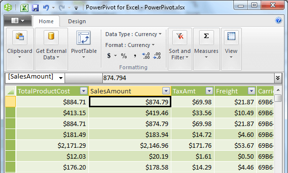Properties set on SalesAmount column