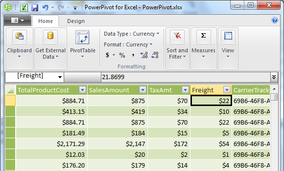 Setting the decimal places for SalesAmount, TaxAmt, and Freight columns