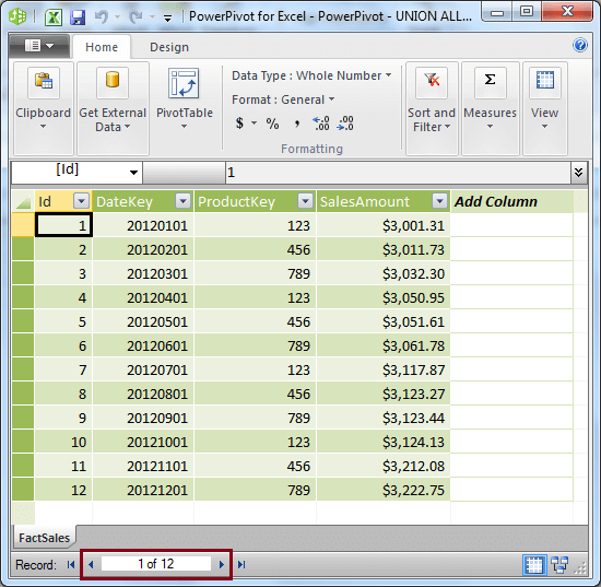 Initial Data Imported into PowerPivot