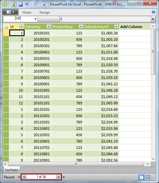 Data combined from 3 different sources in Single PowerPivot Table
