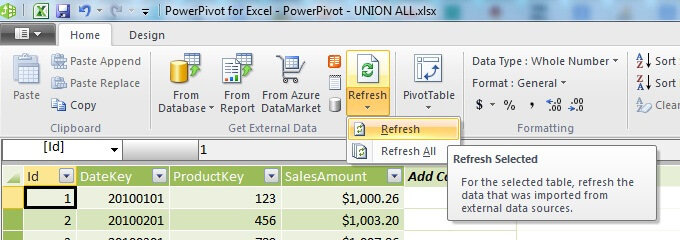 Refresh the data in the PowerPivot Table