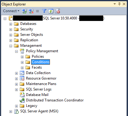 SQL Server Management Studio right-click the Conditions branch to create a new condition