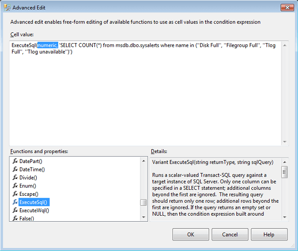 Now comes the fun part, adding T-SQL into the condition in the Advanced Edit screen