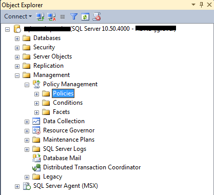 In SQL Server Management Studio, create a new Policy