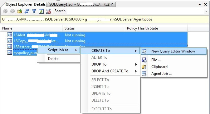 Generate scripts of all Jobs