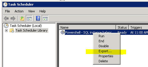 task scheduler - export