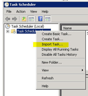 task scheduler - import