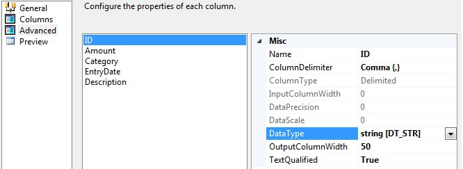 "By default, SSIS sets the ""DataType"" for each column to string [DT_STR], ""OutputColumnWidth"" to 50"