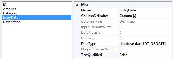 change the data type of the EntryDate column