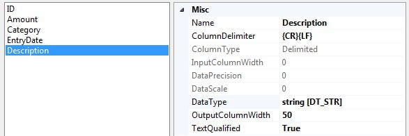 leave the attributes of the Description column unchanged