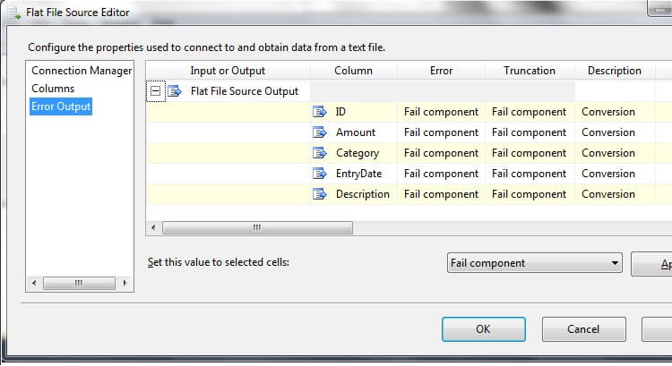the Error Output page of the Flat File Source Editor