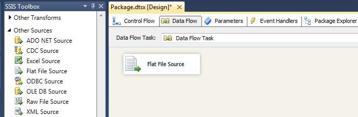 drag a Flat File Source from the SSIS Toolbox