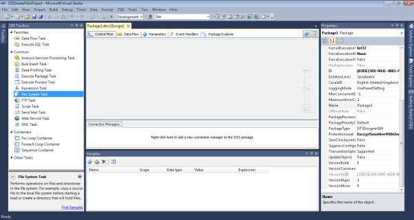 using the following SSIS toolbox components