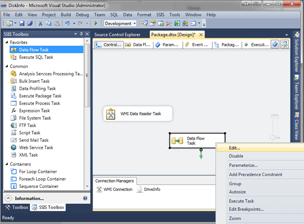 In BIDS or SSDT, drag the Data Flow Task into design view