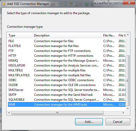 select New Connection and select WMI
