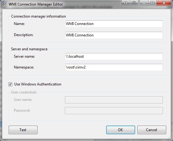 open the WMI Connection Manager Editor