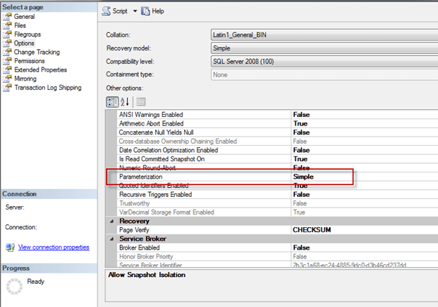 you can use SSMS. Right click on the database, Properties, Options, Parameterization