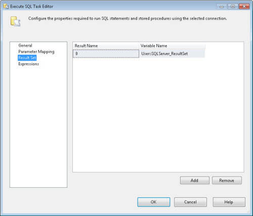 "add the ""User::SQLServer_ResultSet"""