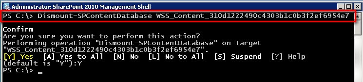 Type the following command to detach a SharePoint content database