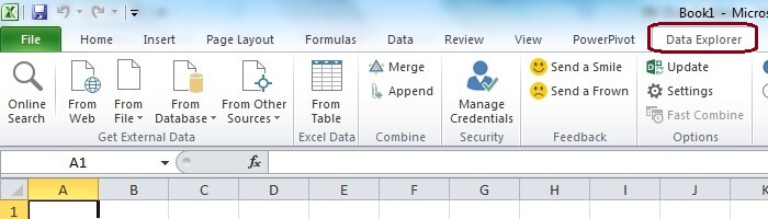 Newly added Data Explorer Tab in Excel Ribbon