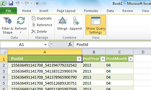 Required data loaded into Excel Sheet