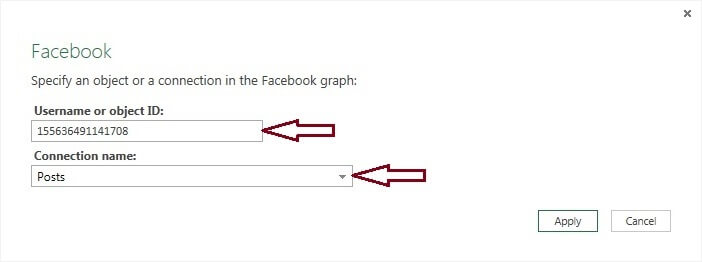 User Name and Connection for Facebook Data Extract