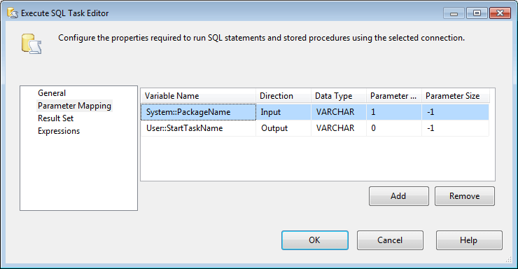 Map the package parameters to retrieve any existing restart point marker.