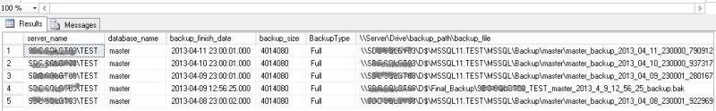 use the full path and database backup name when we use the GUI to recover a database