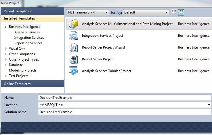 In Visual Studio, create a new Analysis Services Multidimensional and Data Mining Project