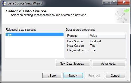 the Select a Data Source page in the Relational data sources window