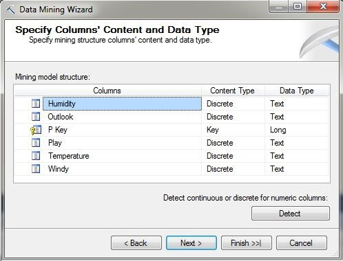 Specify Columns' Content and Data Type page
