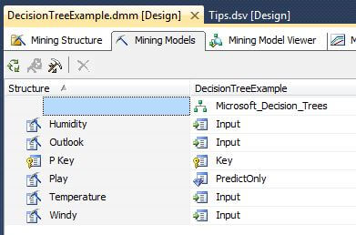 The next image from Visual Studio shows the Mining Model tab of the data mining model