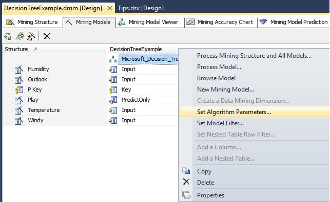 "Under the Mining Model tab, right click on the box labeled ""Microsoft_Decision_Trees"""