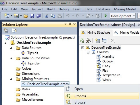 processing the data mining model on the SQL Server Analysis Services server from the Visual Studio project