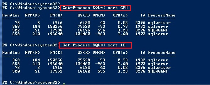 sort the processes by CPU and IDs.