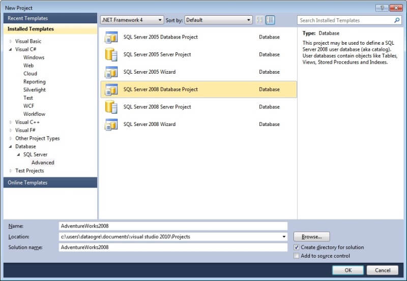 Creating a visual studio database project for an existing sql server open visual studio 2010 friedricerecipe Image collections