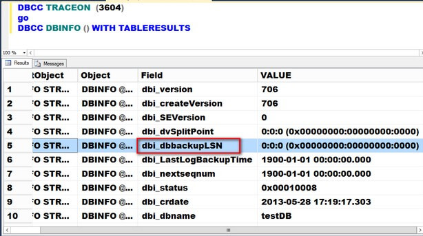 The results of running the DBCC DBINFO T-SQL command is shown below