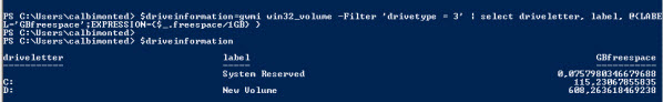 powershell disk space