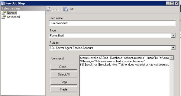 In the Type select PowerShell and in Command copy and paste the command of step 11