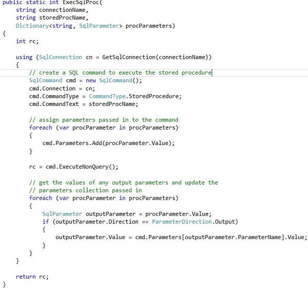 the ExecSqlProc method called from Main; this is the code that calls the stored procedure that executes the SSIS package