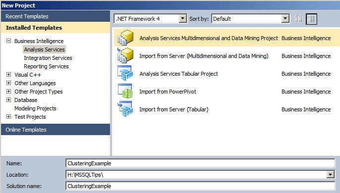 create a new Analysis Services Multidimensional and Data Mining Project
